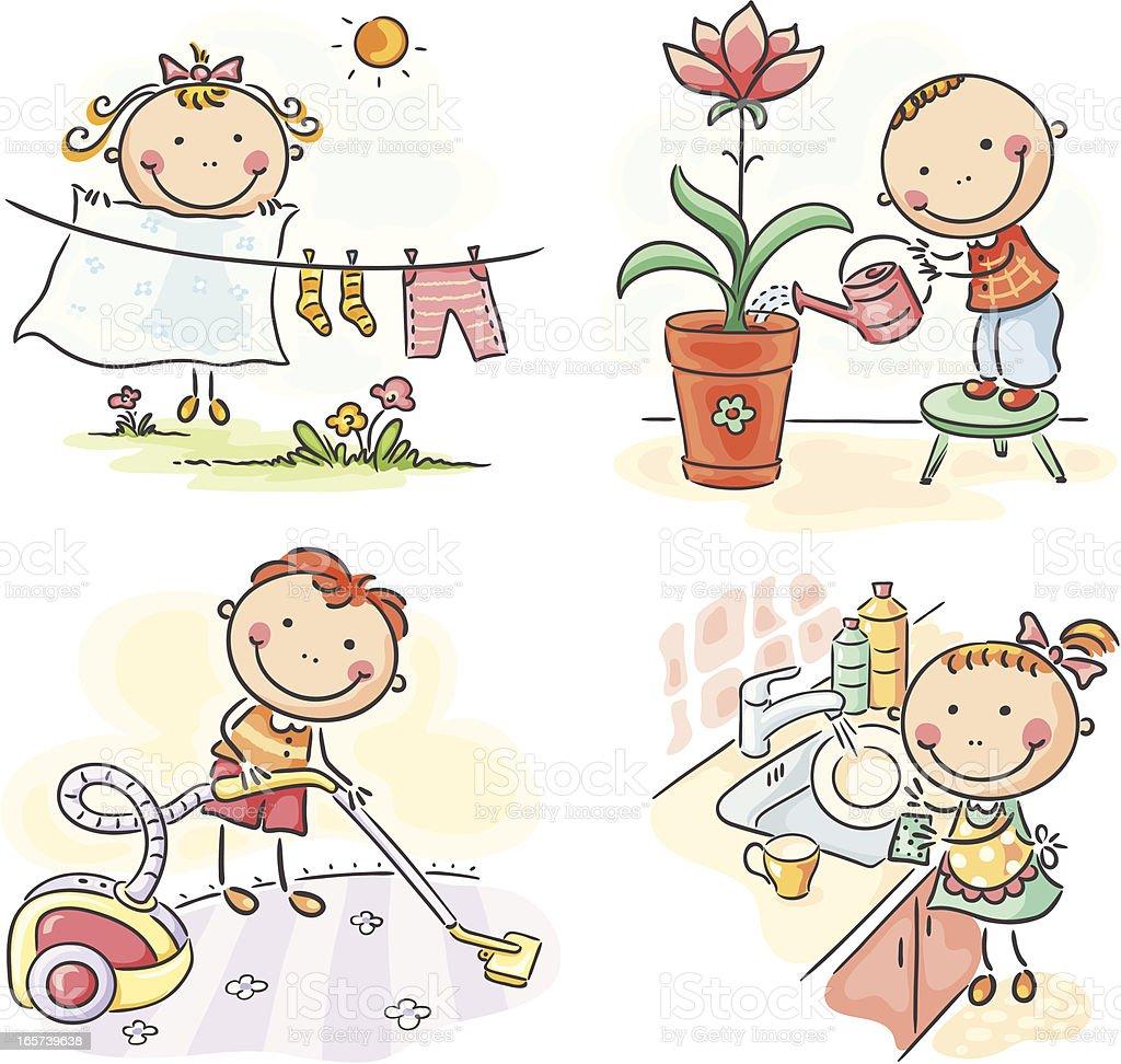 Kids and housework vector art illustration