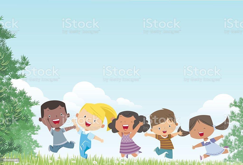 Kids and Landscape vector art illustration