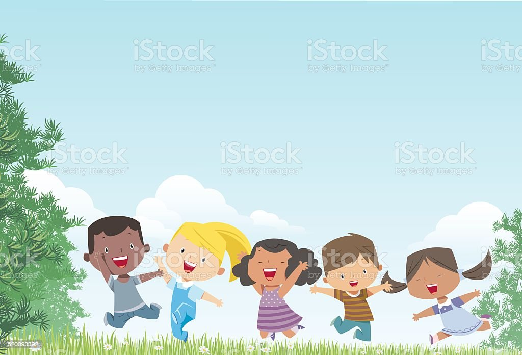Kids and Landscape vector art illustration