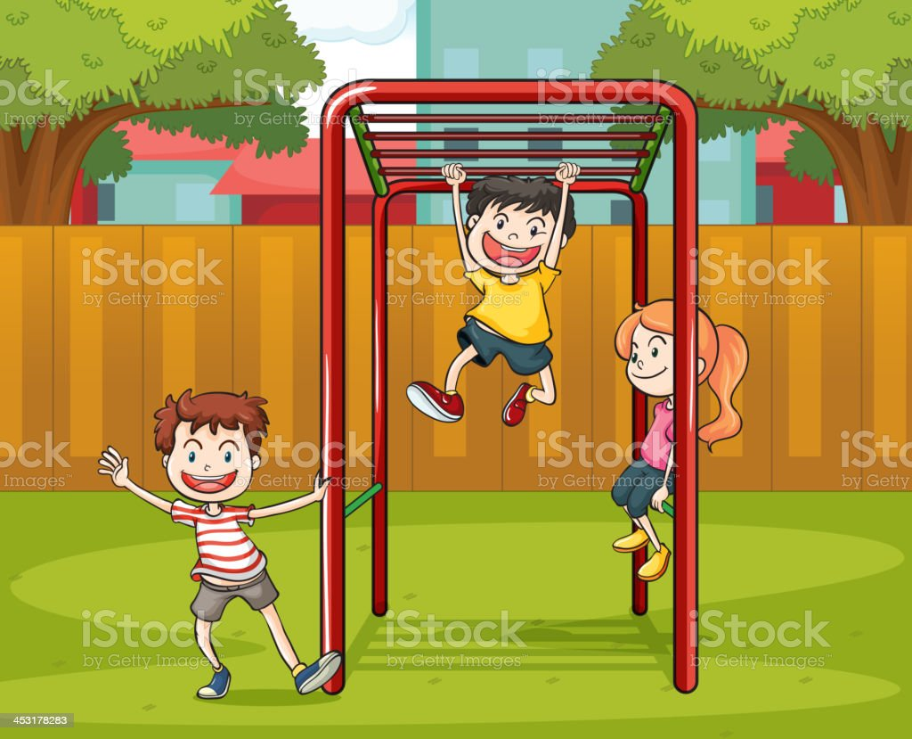 kids and monkey bar royalty-free stock vector art