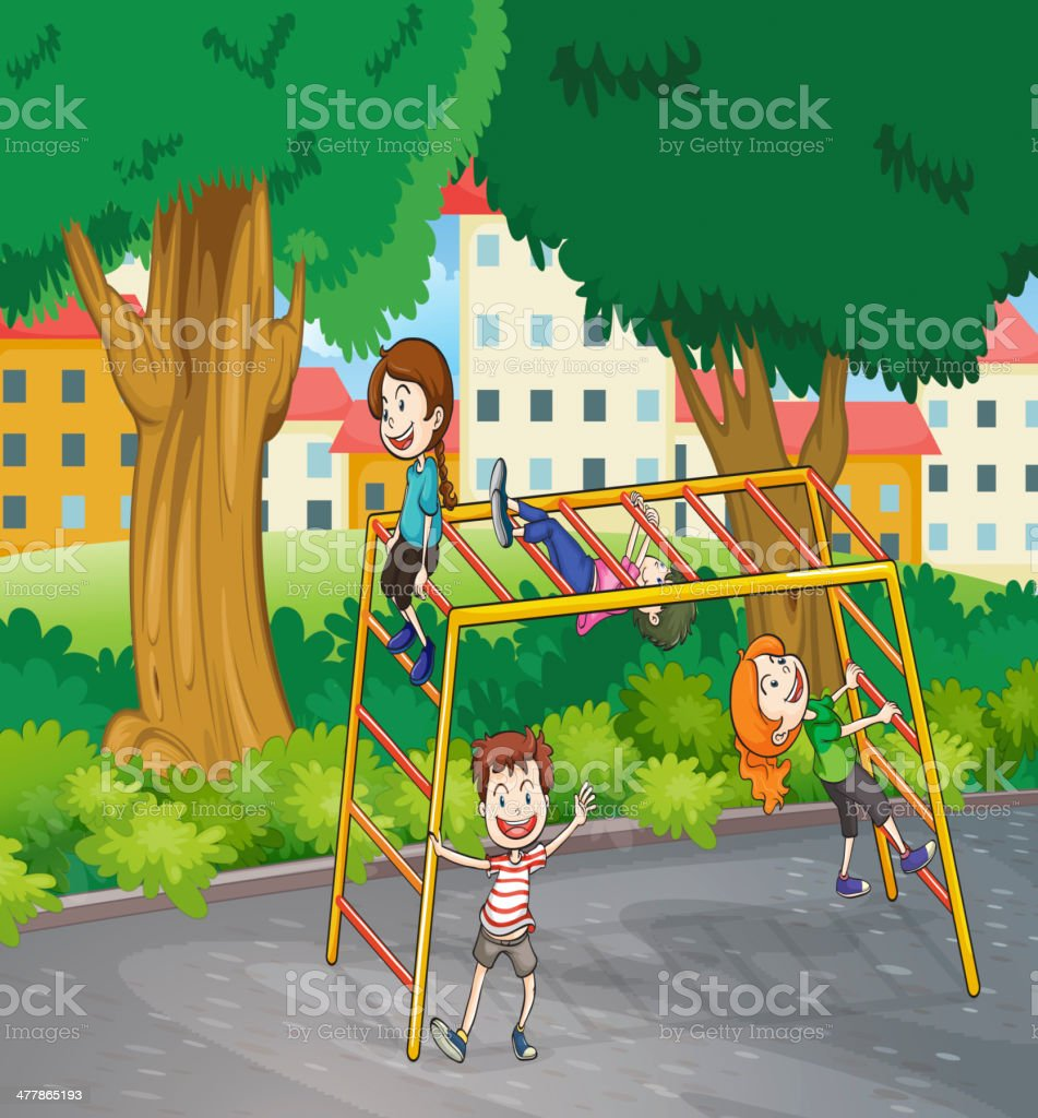 Kids and monkey bar royalty-free stock vector art