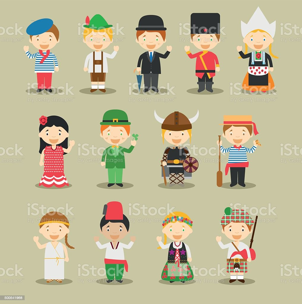 Kids and nationalities of the world vector Set 1: Europe. vector art illustration