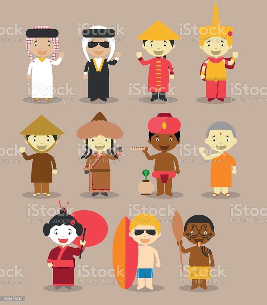 Kids and nationalities of the world vector Set 3: Asia/Australia. vector art illustration