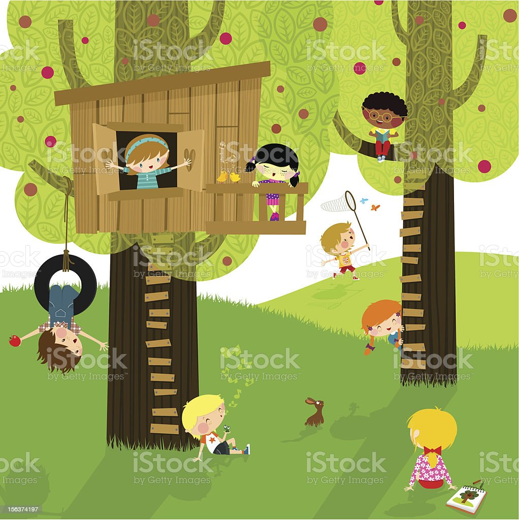 Kids and nature. Summer camp. Playing & learning. vector art illustration