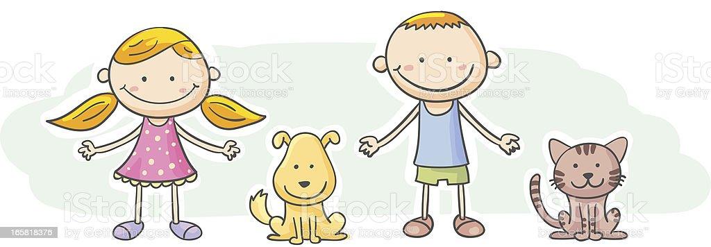 Kids and pets cartoon character royalty-free stock vector art
