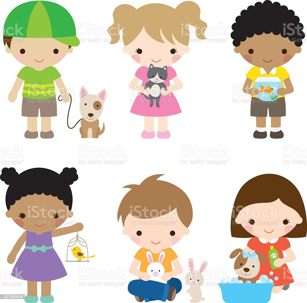 Kids and Pets vector art illustration