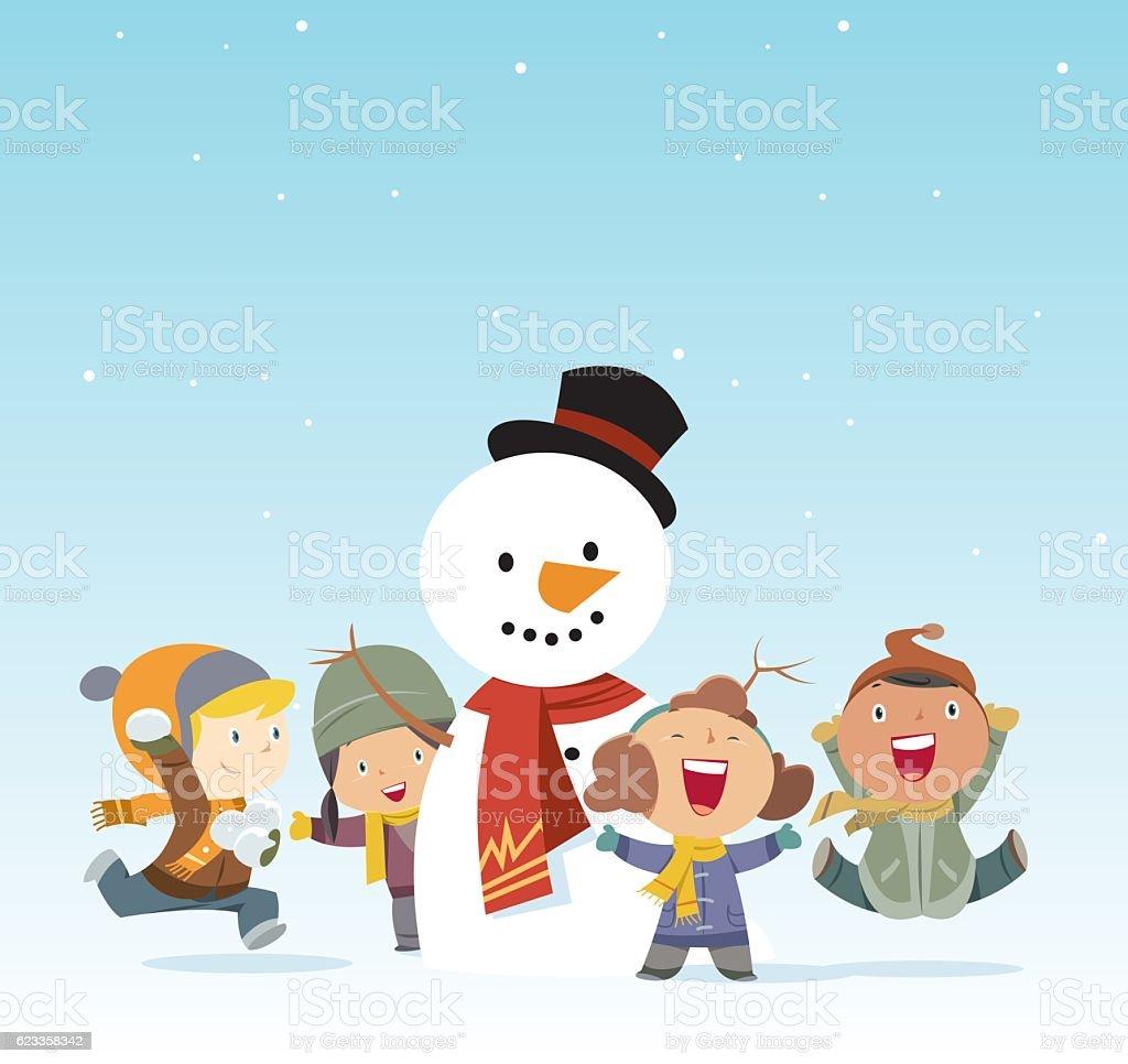 Kids and snowman vector art illustration
