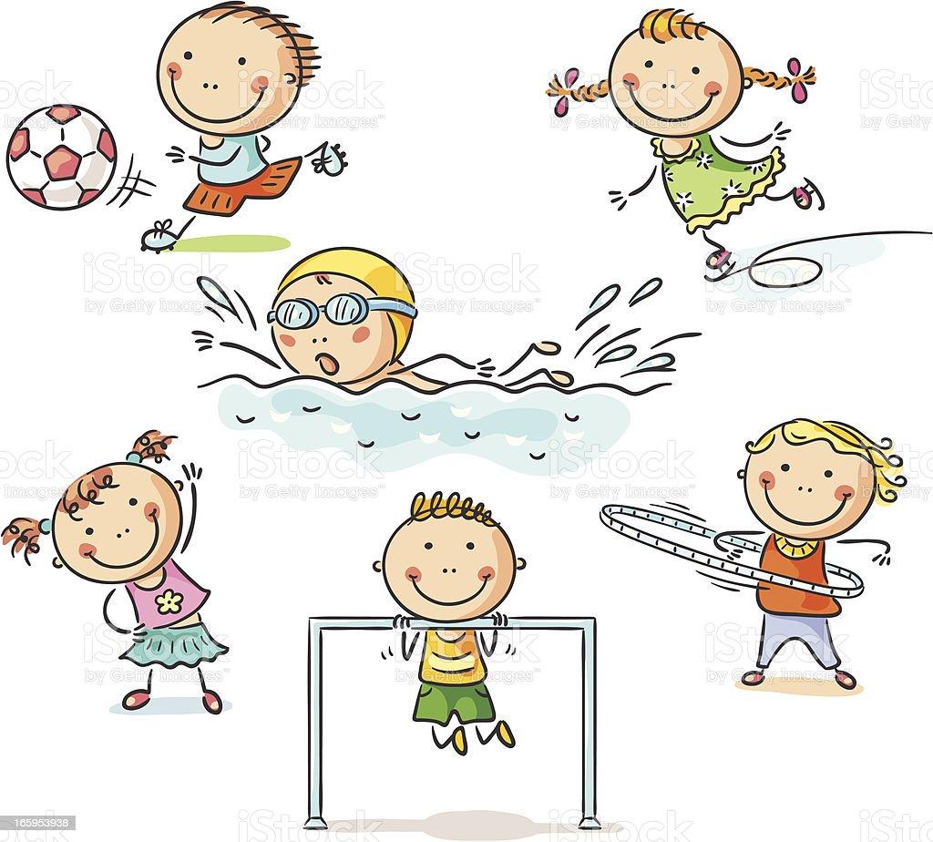 Kids and sport vector art illustration