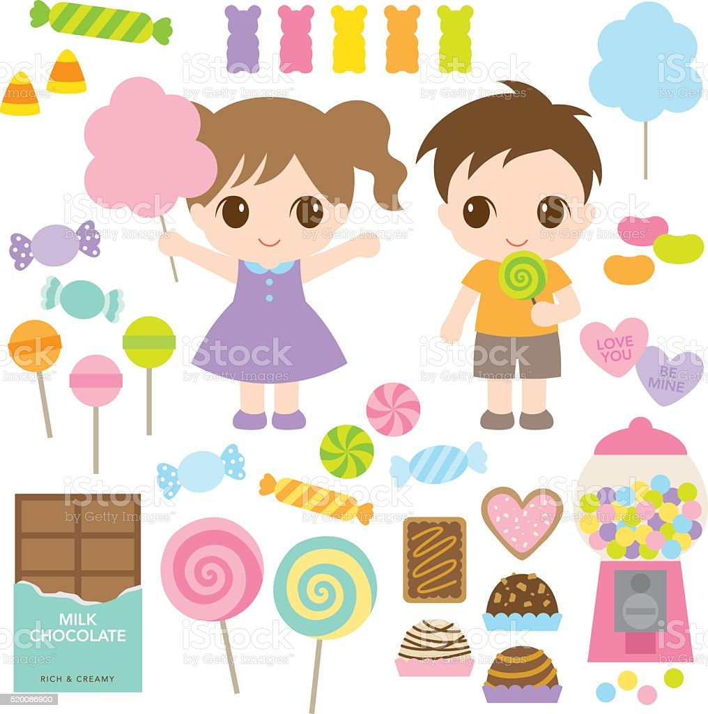Kids and Sweet Candies vector art illustration