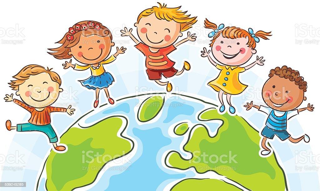 Kids and the Globe vector art illustration