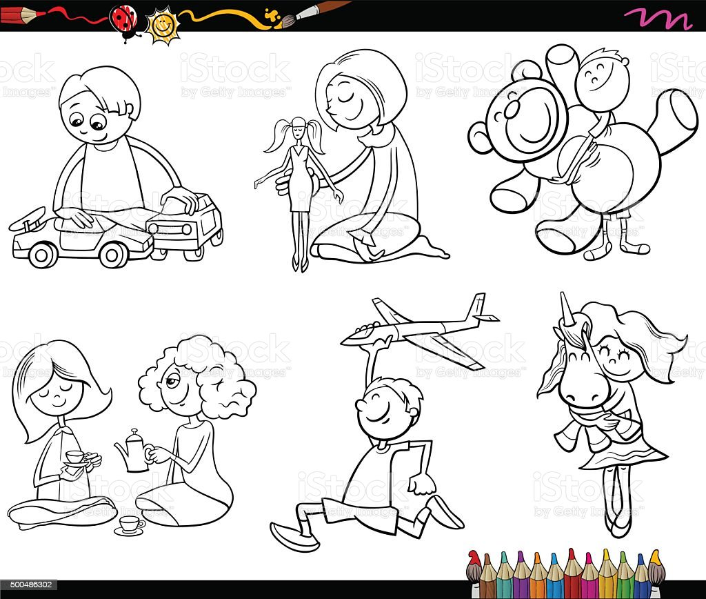 kids and toys coloring page stock vector art 500486302 istock