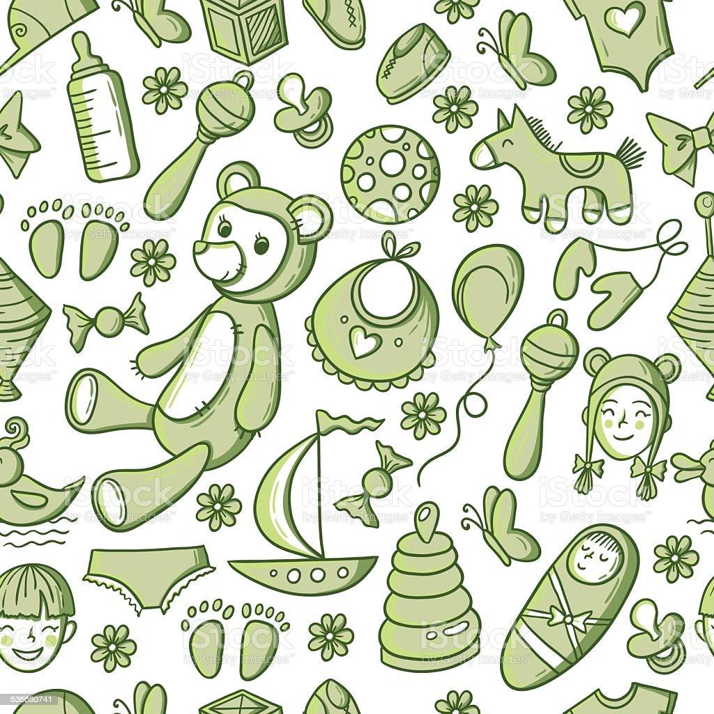 Kids and toys pattern vector art illustration