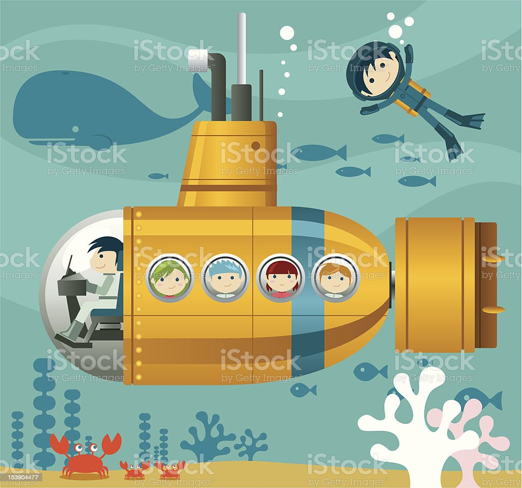 Kids and Yellow Submarine vector art illustration