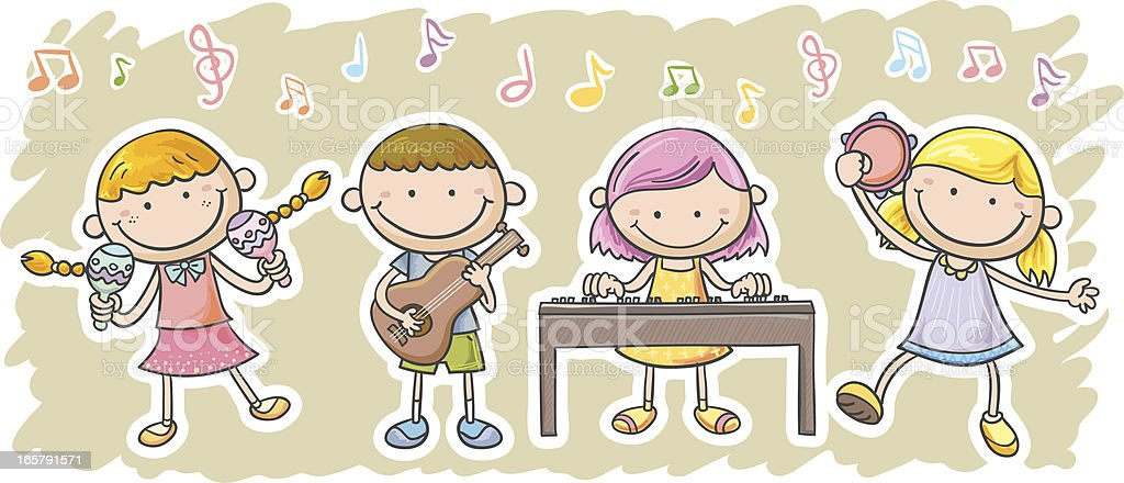 Kids are playing music equipment vector art illustration