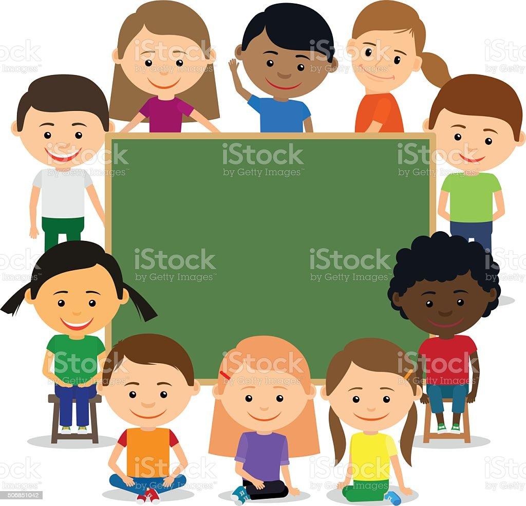 Kids around chalkboard vector art illustration