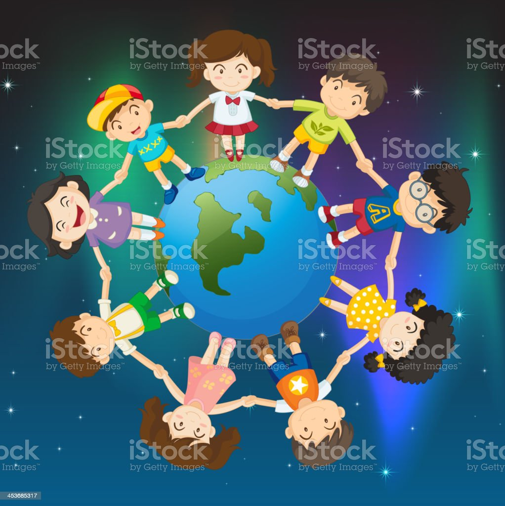 Kids around the globe royalty-free stock vector art