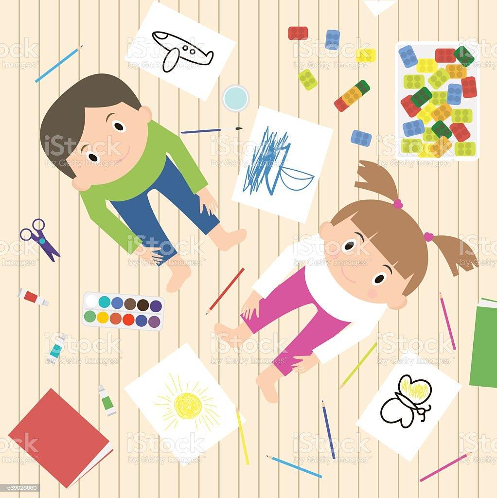 Kids Art-working process. Kids creativity vector illustration. vector art illustration