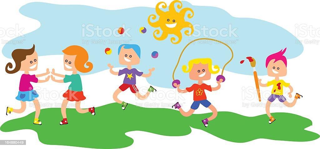 Kids at Play royalty-free stock vector art