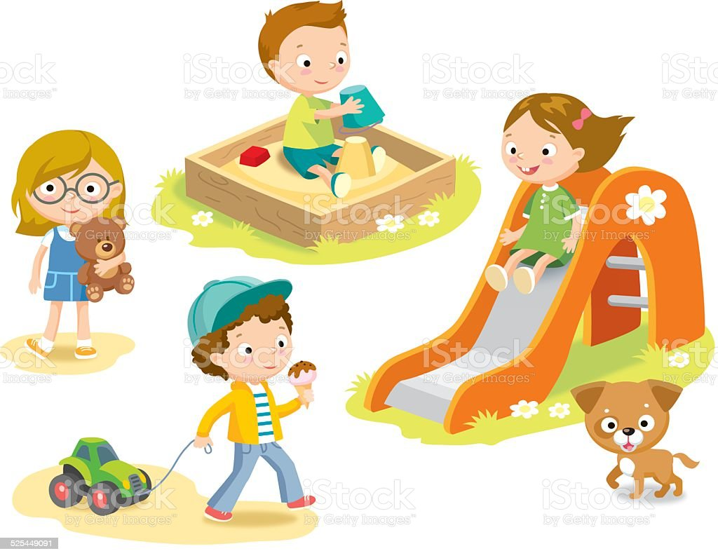 kids at playground vector art illustration