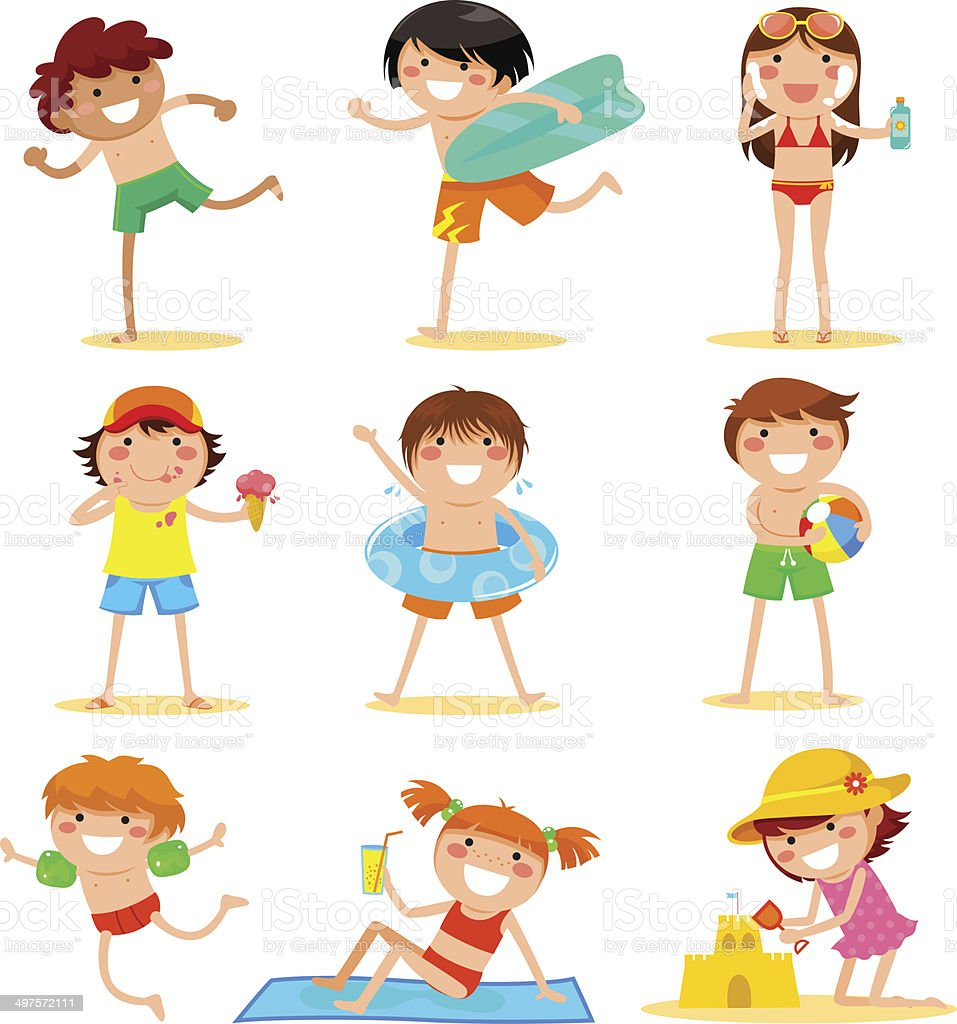 kids at the beach vector art illustration