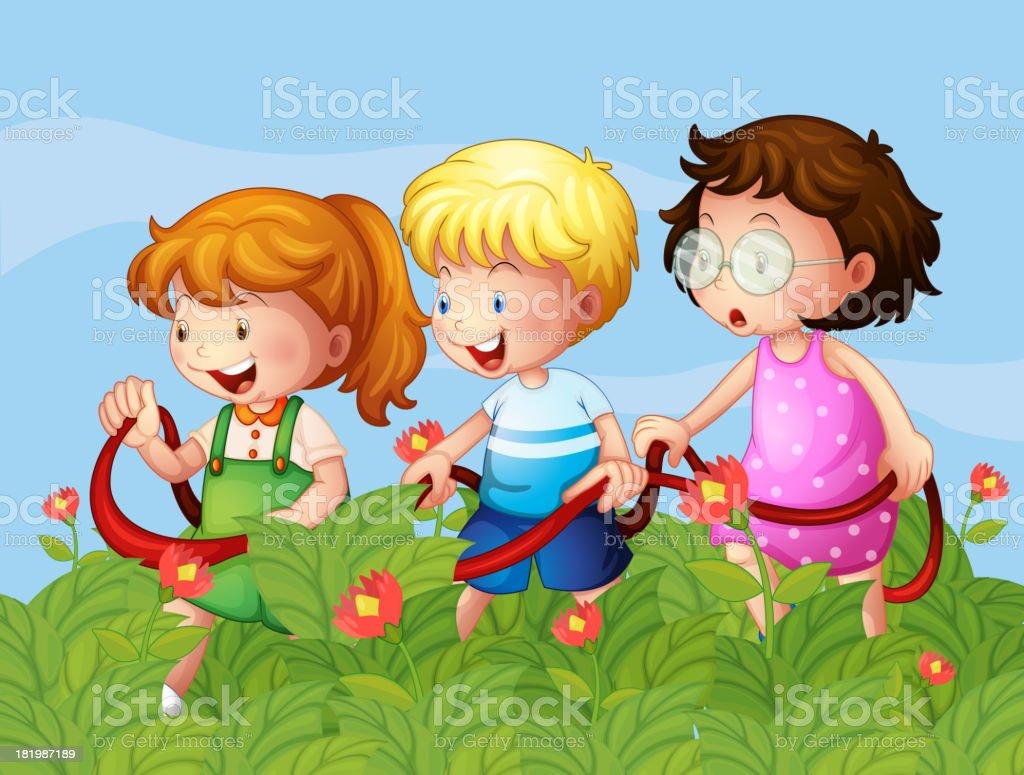 Kids at the garden royalty-free stock vector art