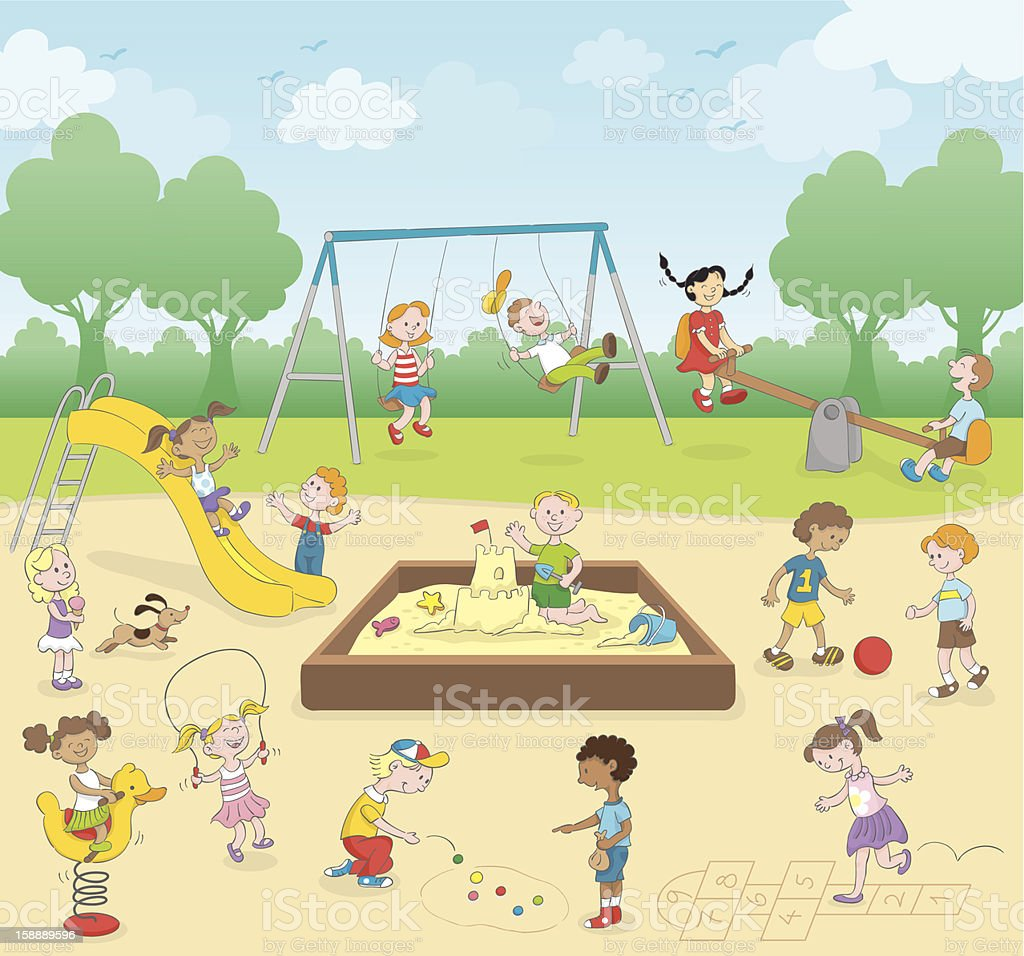 Kids at the playground vector art illustration