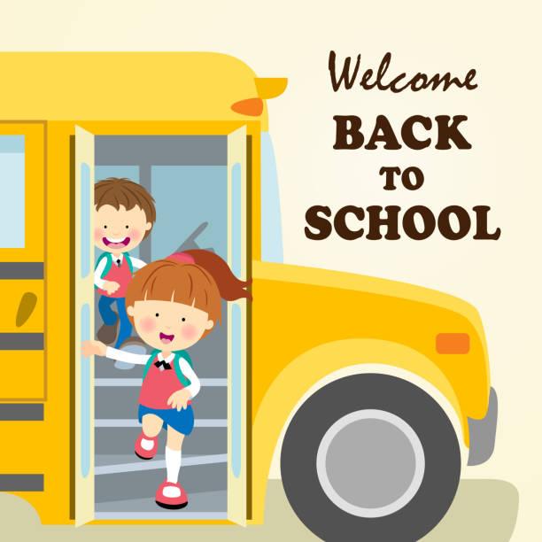 Kids Leaving School Clip Art, Vector Images