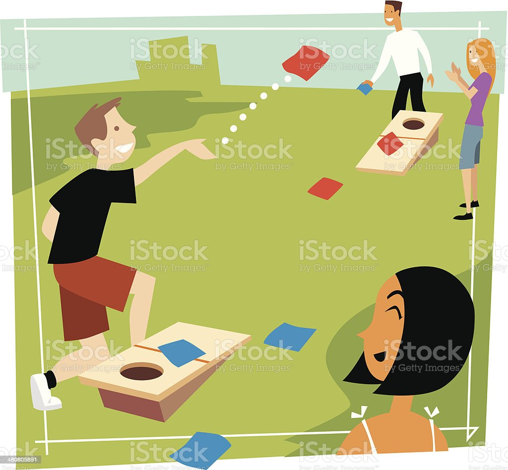 Kids Bean Bag Toss C vector art illustration