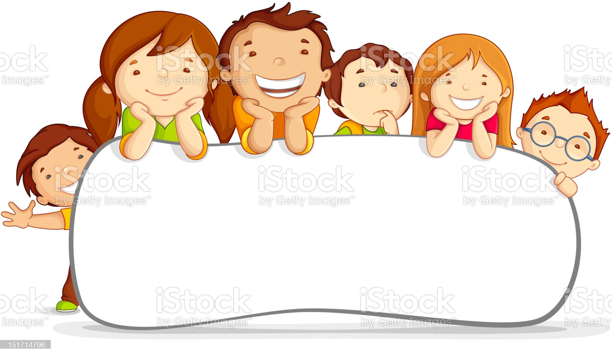 Kids behind Placard royalty-free stock vector art