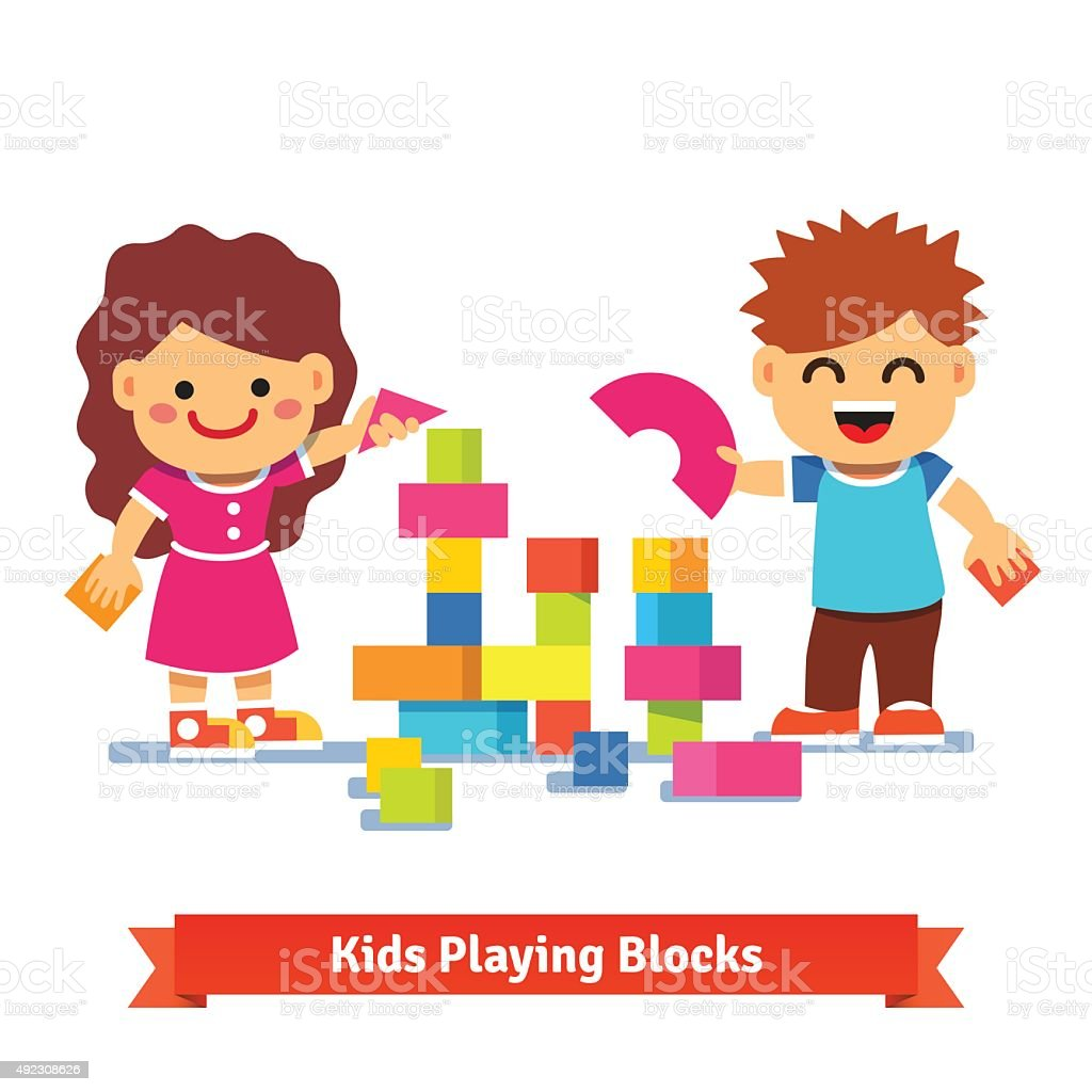 Kids building tower with colorful wooden blocks vector art illustration