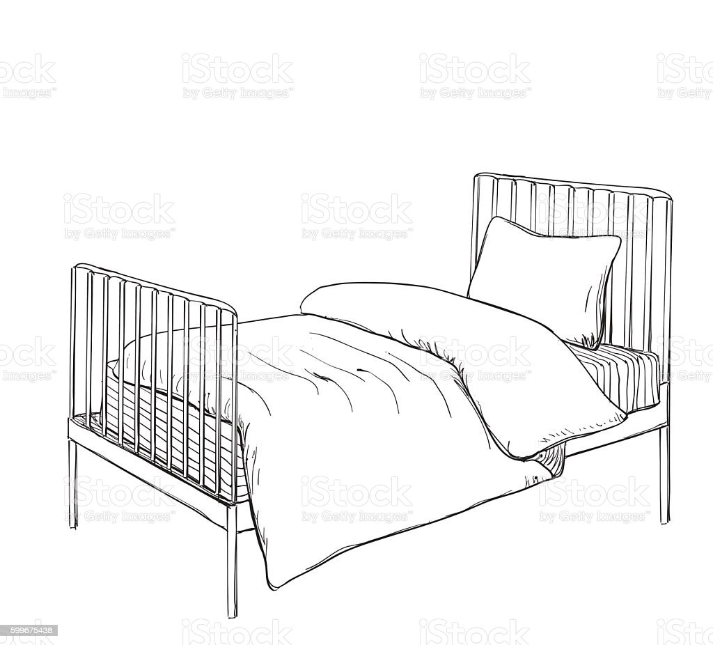 Bedroom drawing for kids - Kids Bunk Bed Doodle Style Sketch Royalty Free Stock Vector Art