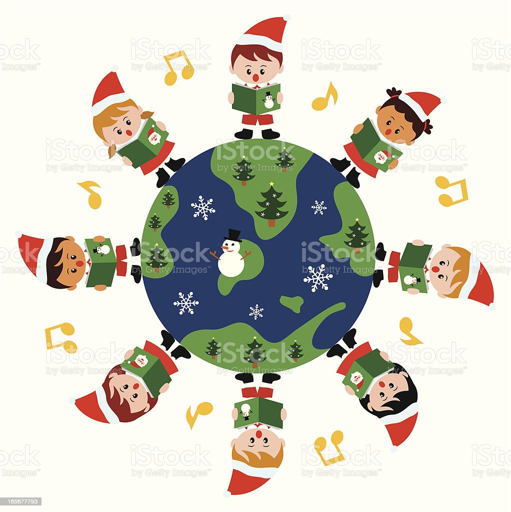 Kids caroling around the world vector art illustration