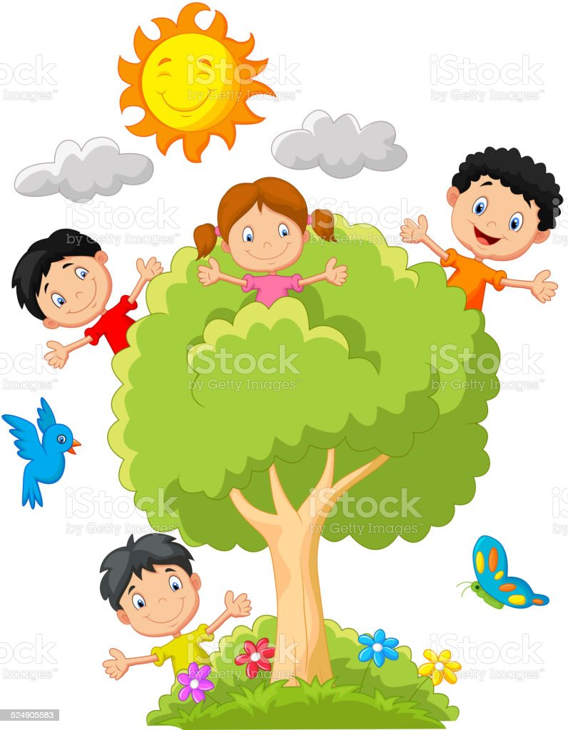 Kids cartoon playing on tree vector art illustration