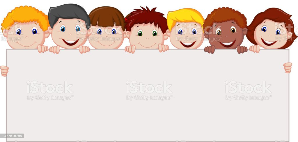 Kids cartoon with blank sign royalty-free stock vector art