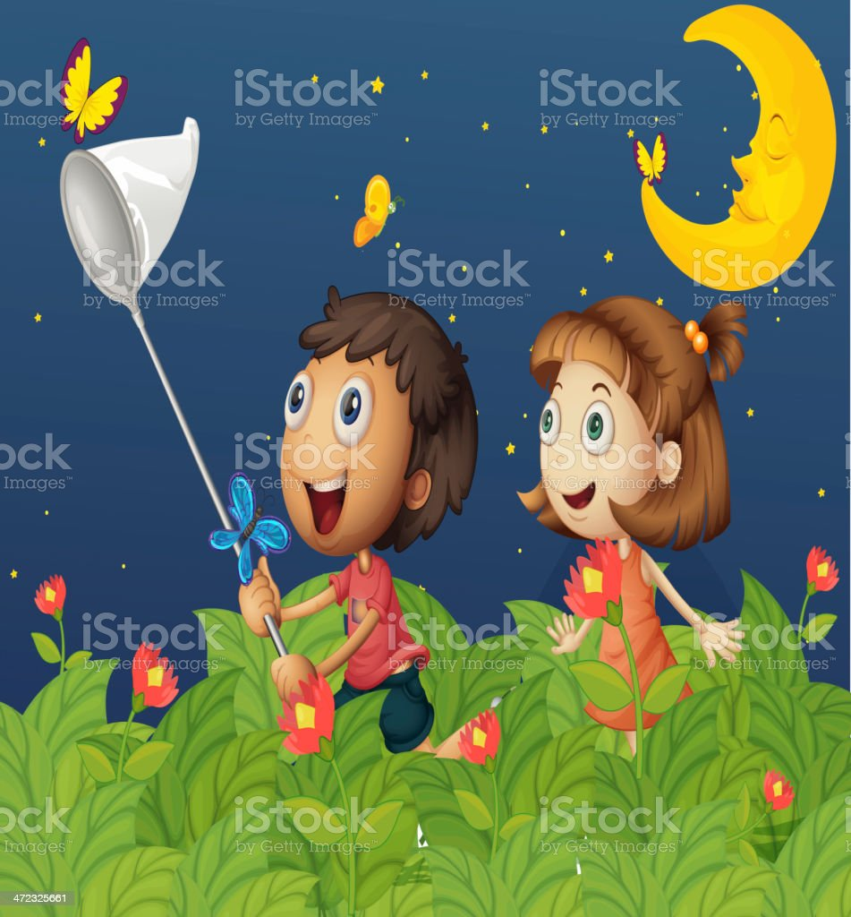 Kids at night with moon royalty free stock photography image - Kids Catching Butterflies Under The Bright Moon Royalty Free Stock Vector Art