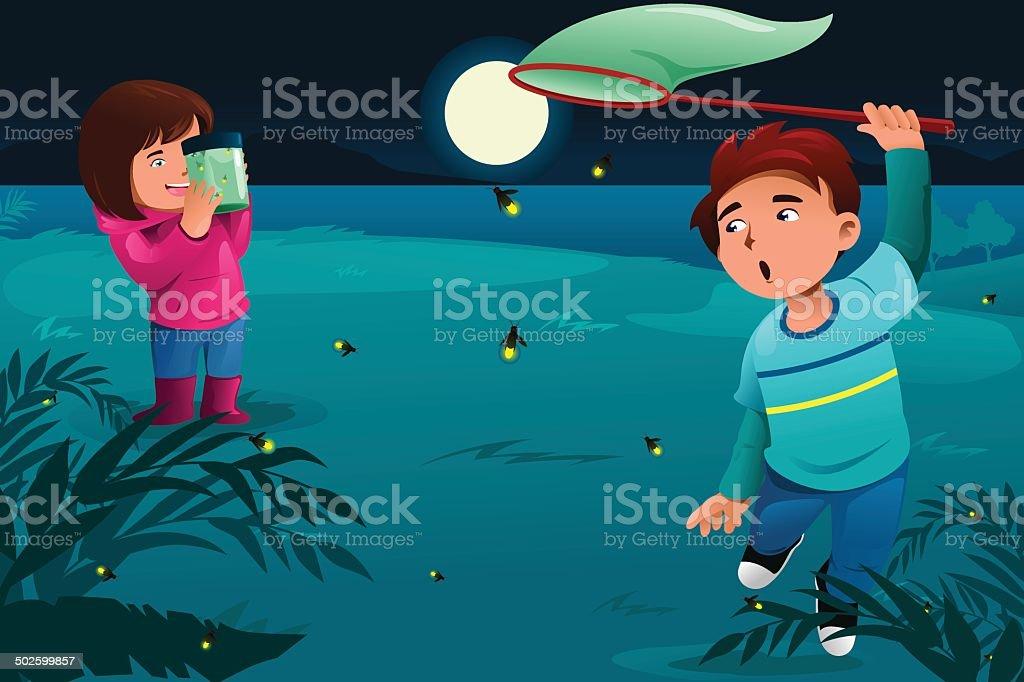 Kids catching fireflies vector art illustration