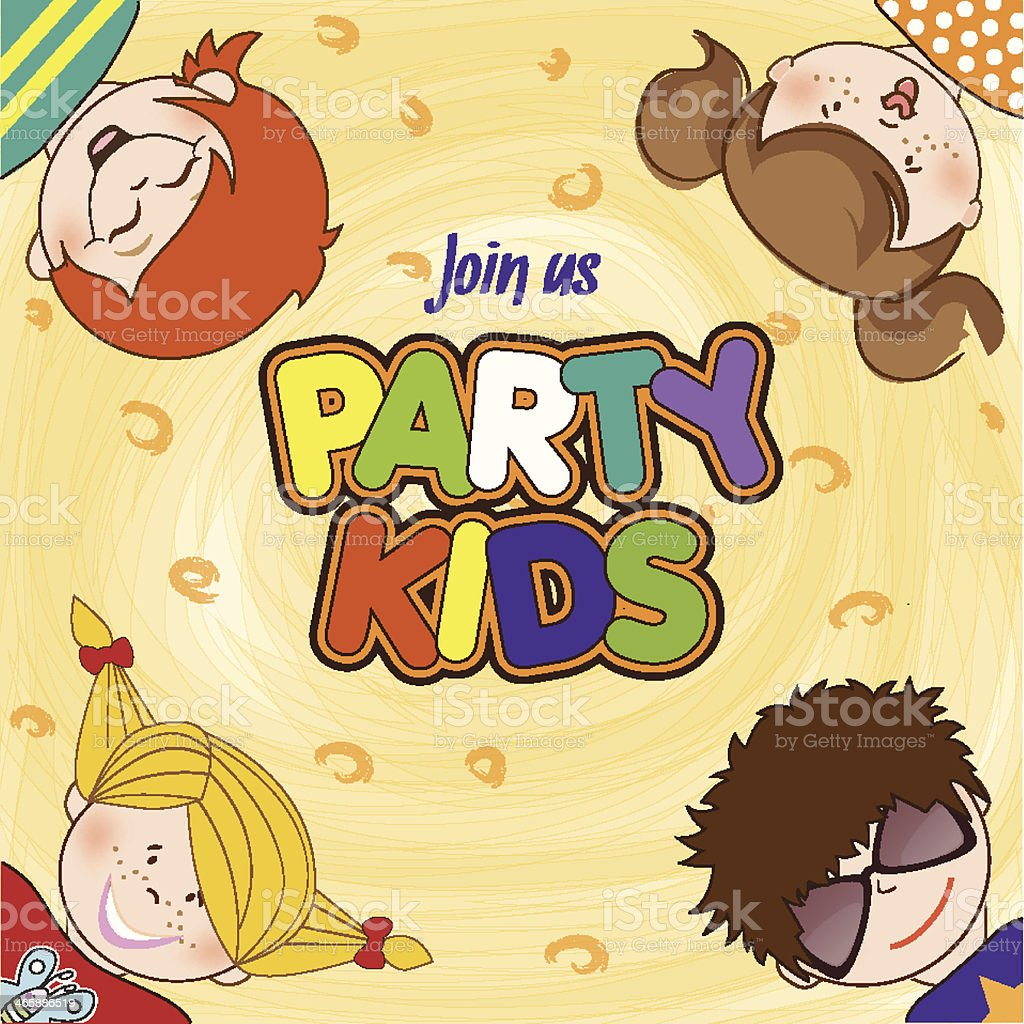 kids celebrating birthday party vector art illustration