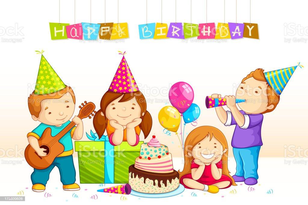 Kids Celebrating Birthday royalty-free stock vector art