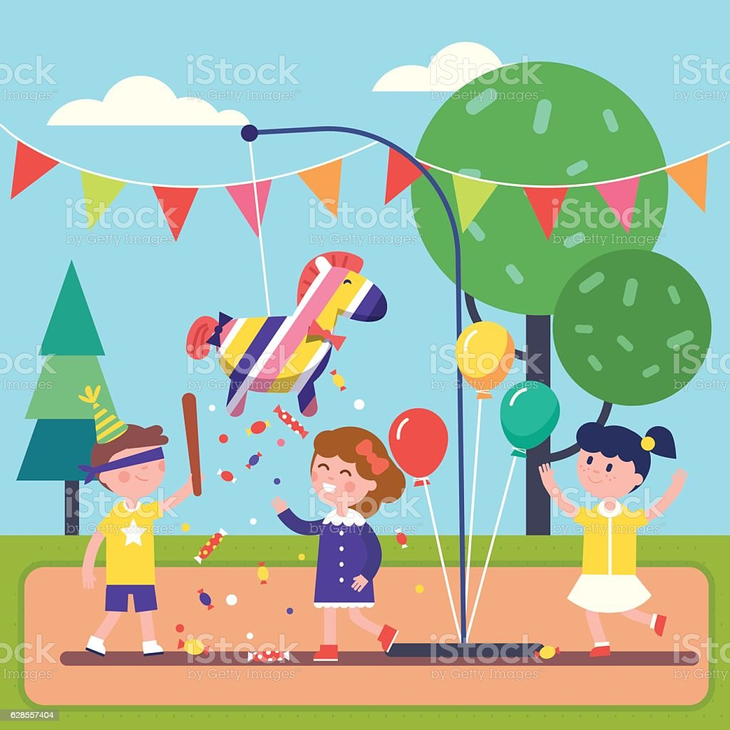 Kids celebrating Posada by breaking a Pinata vector art illustration