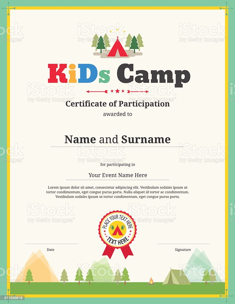 Kids certificate template in vector for camping participation vector art illustration