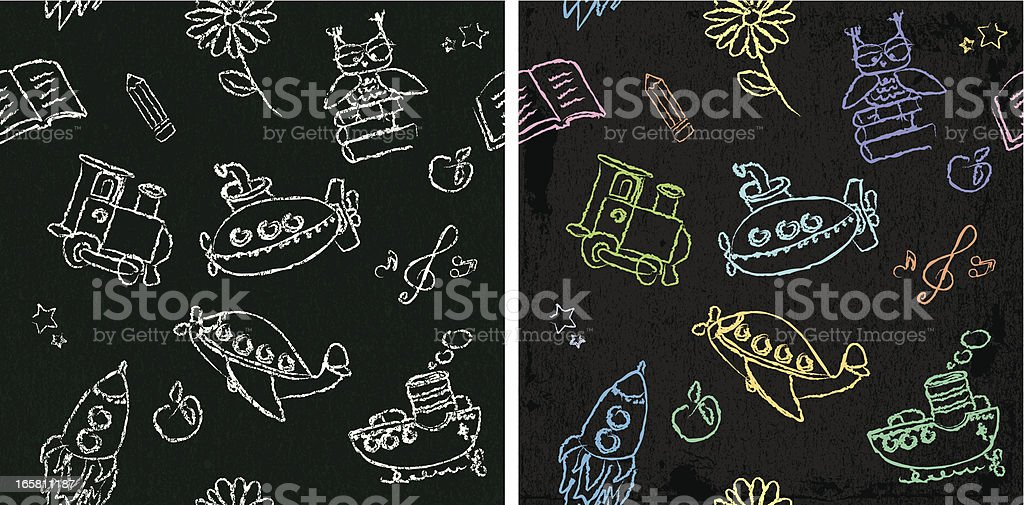 Kids chalk drawings - seamless royalty-free stock vector art