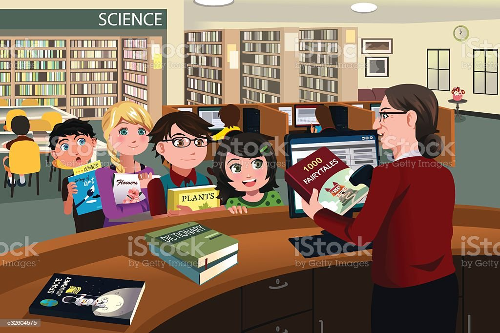 Kids checking out books in the library vector art illustration
