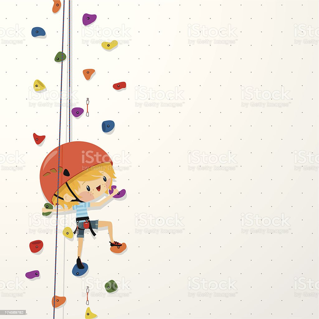 kids climb up sport boy climbing wall illustration vector vector art illustration