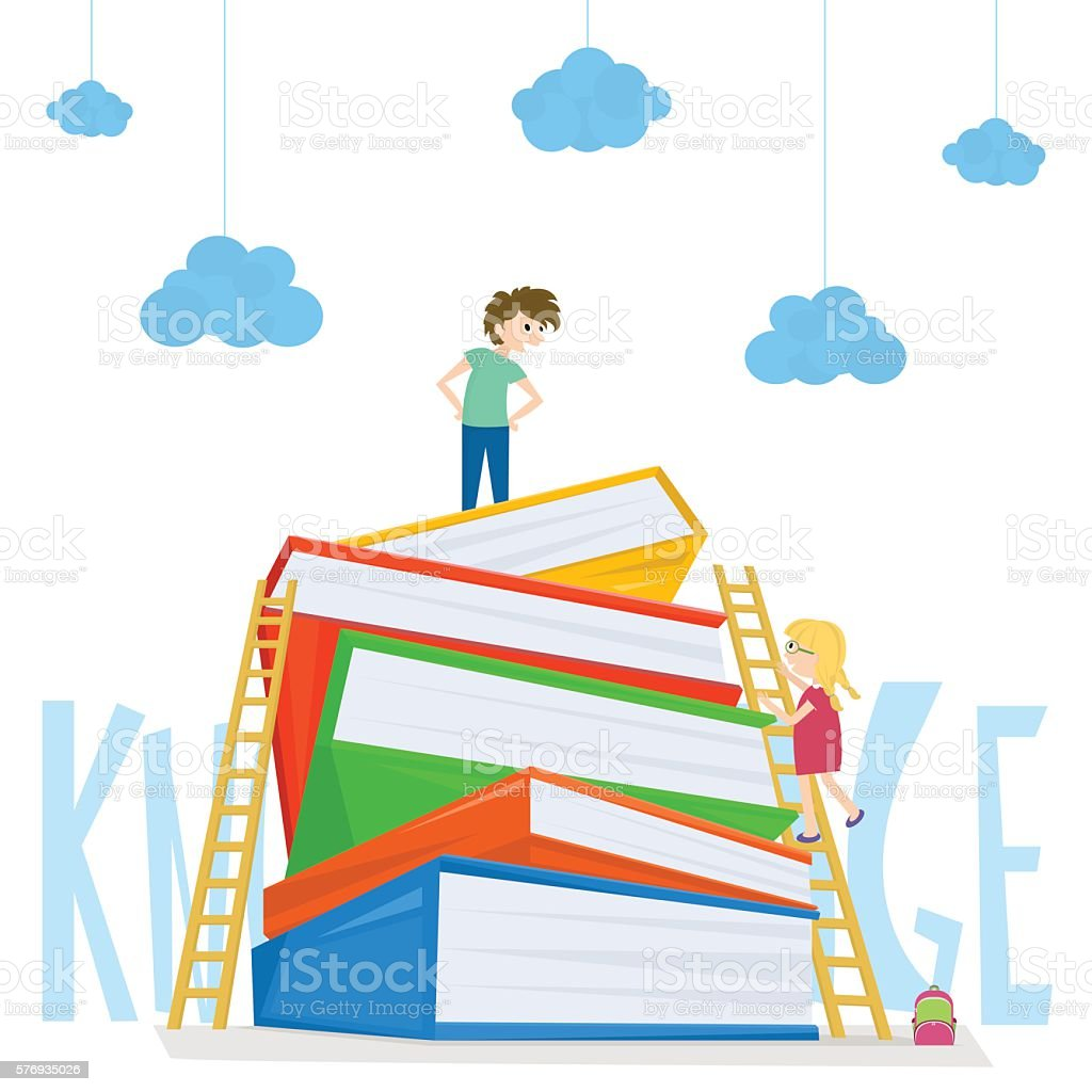 Kids climbing on stairs to the large stack of books. vector art illustration