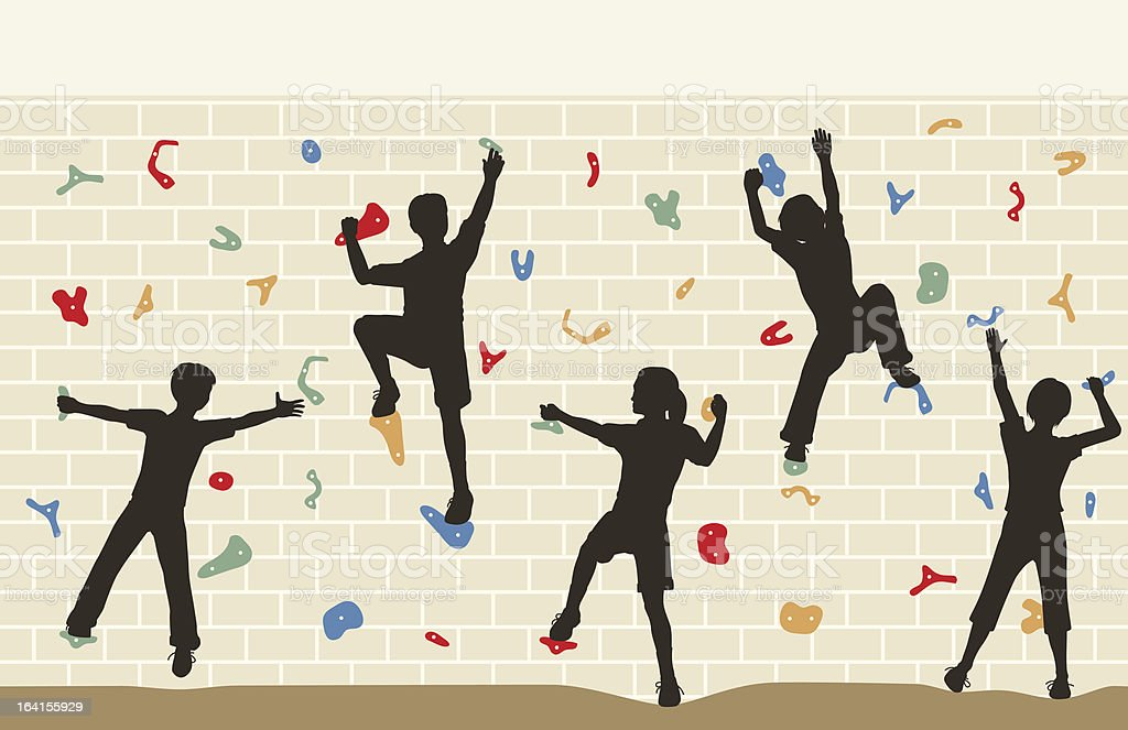 Kids climbing wall vector art illustration