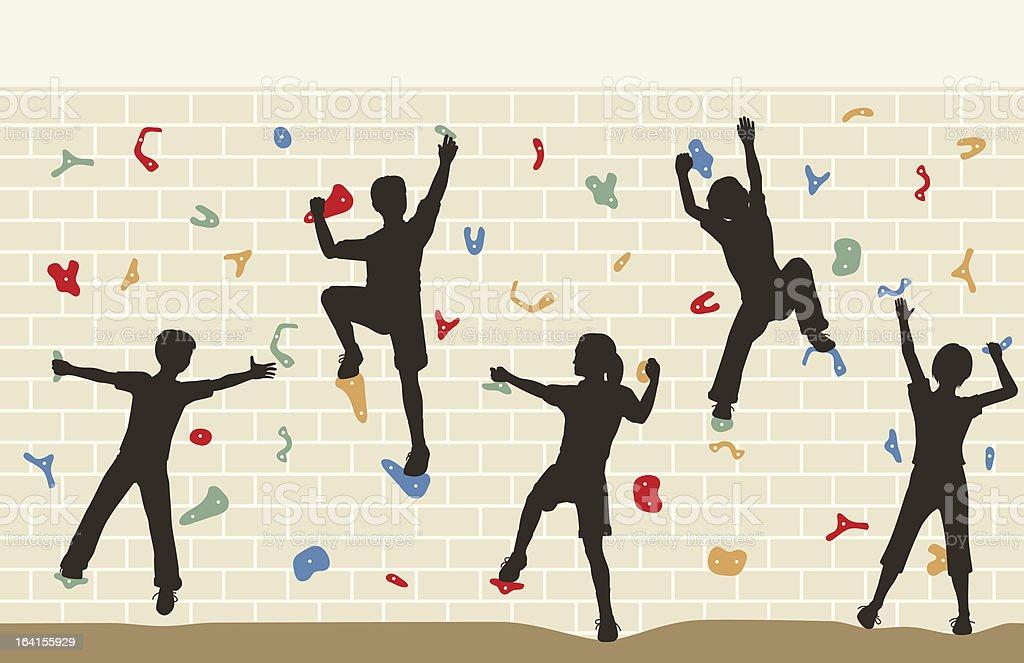 Kids climbing wall vector art illustration
