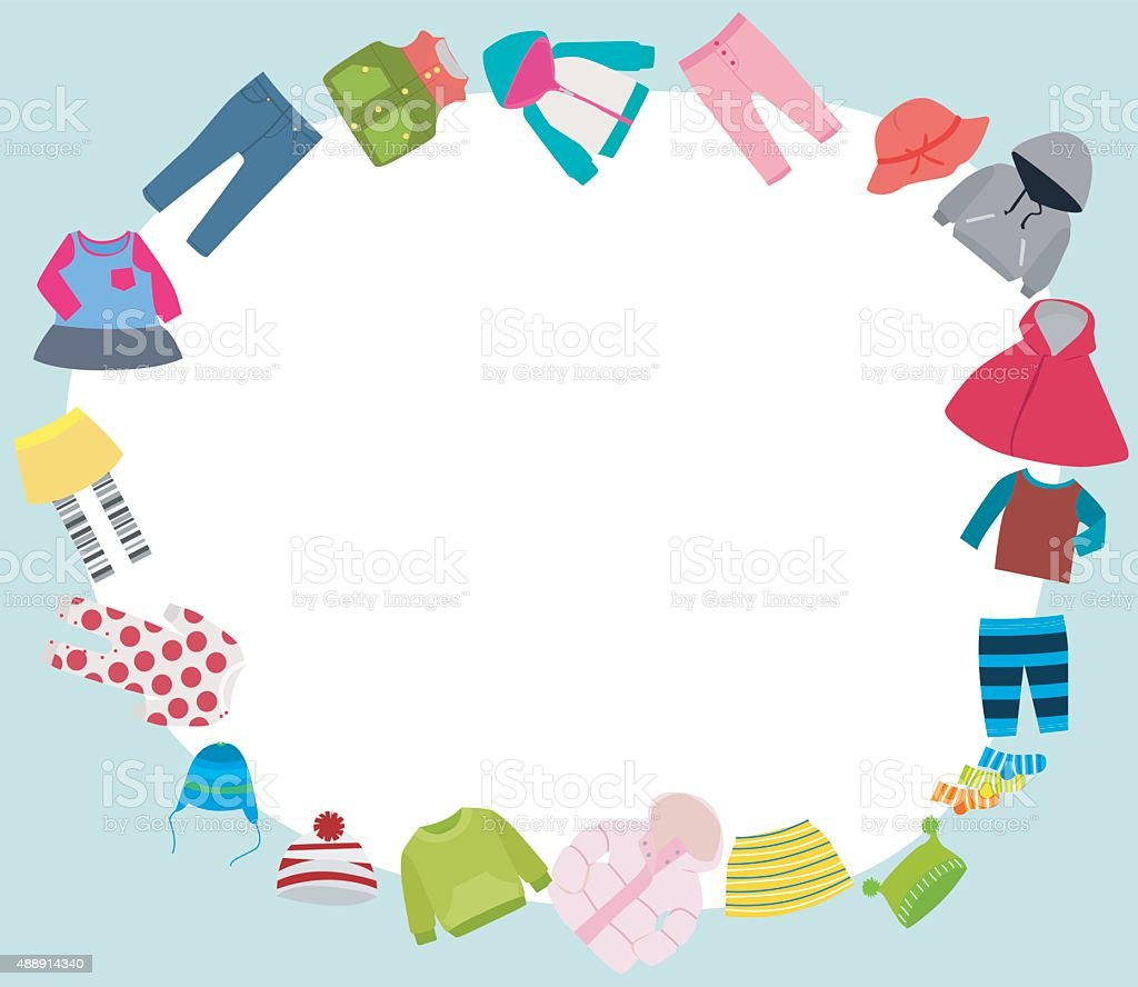 kids clothes and frame vector art illustration