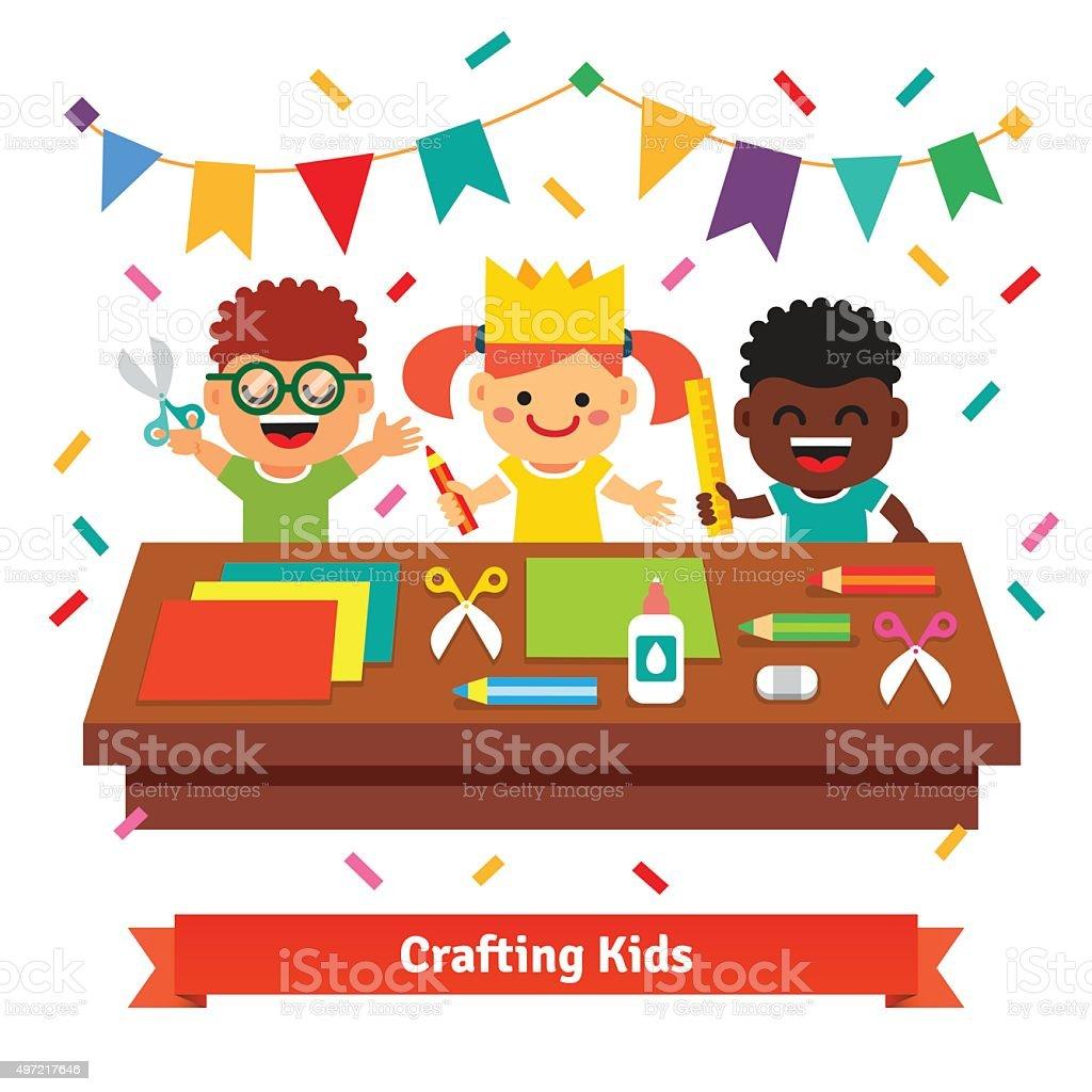 Kids crafts in kindergarten. Creative children vector art illustration