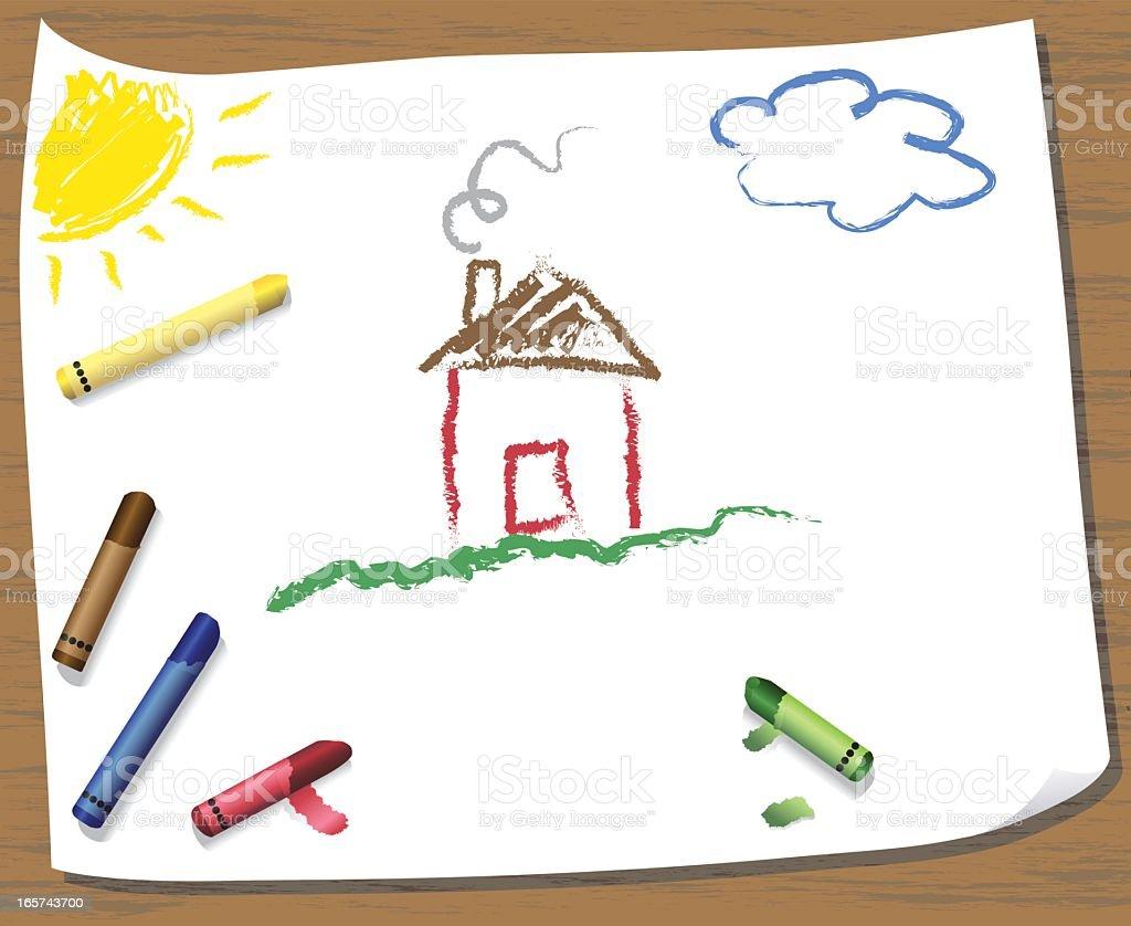 Kids Crayon Drawing vector art illustration