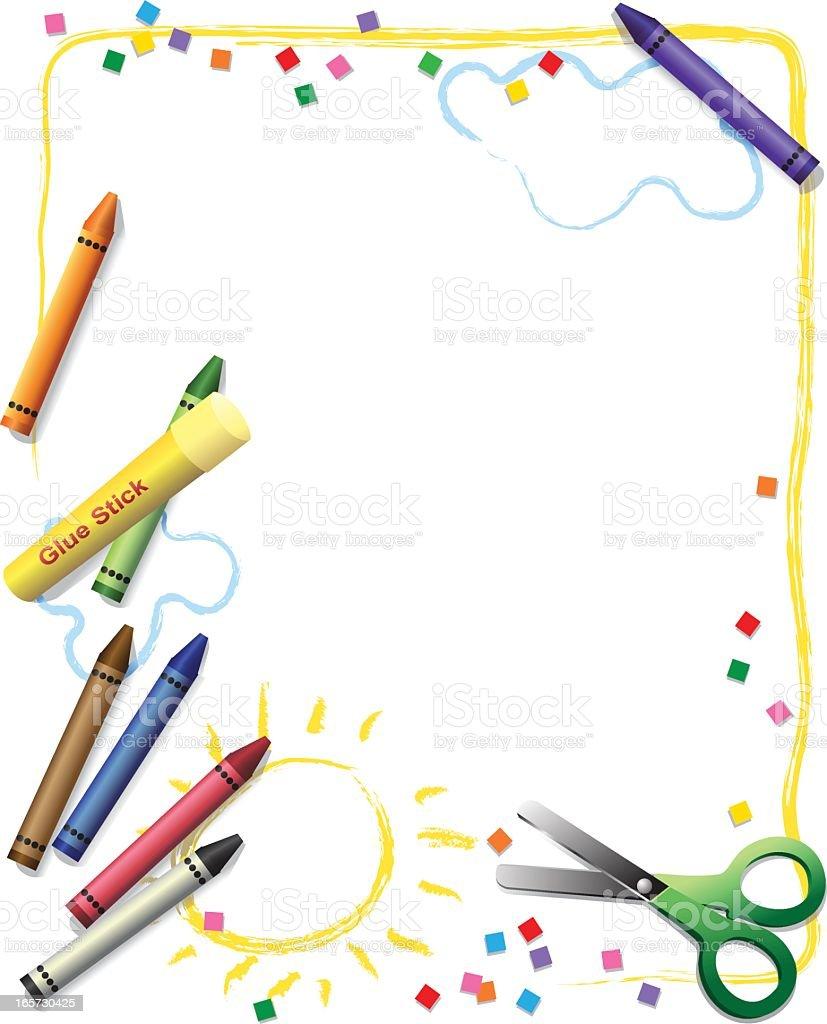 Kids Creativity Frame vector art illustration